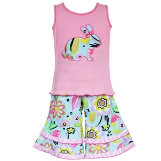 AnnLoren Boutique Girls Easter Bunny Tank with Floral Capris 2-piece Set