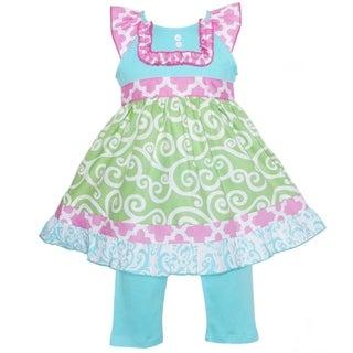 AnnLoren Boutique Girls Green Swirl and Pink Lattice Dress with Capris 2-piece Set