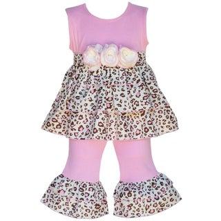 AnnLoren Boutique Girls 2-piece Pink Leopard Rumba Tunic with Capris Set