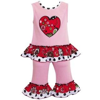AnnLoren Boutique Girls Pink Heart Valentine's Day 2-piece Outfit