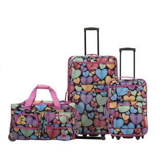Rockland Hearts 3-piece Rolling Expandable Upright Luggage Set