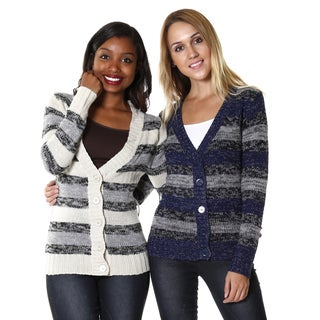 Hadari Women's Ivory/ Navy and Multi Stripe Cardigans (Set of 2)