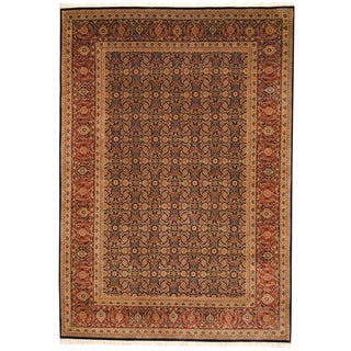 Herat Oriental Indo Hand-knotted Tabriz Navy/ Rust Wool Rug (6'6 x 9'4)