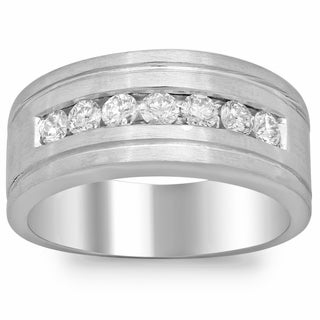Men's 14k White Gold 4/5ct TDW Diamond Ring (F-G, SI1-SI2)