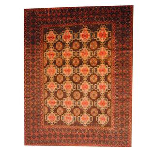 Herat Oriental Semi-antique Afghan Hand-knotted Tribal Balouchi Brown/ Red Wool Rug (10' x 12'11)