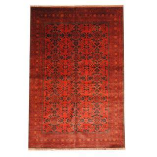 Herat Oriental Afghan Hand-knotted Tribal Khal Mohammadi Red/ Black Wool Rug (6'6 x 9'9)