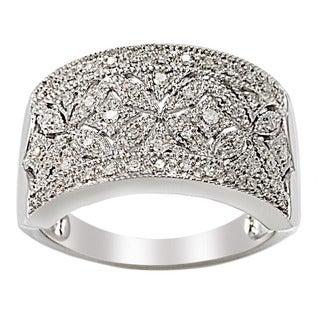 Sterling Silver 1/4ct TDW Diamond Floral Milgrain Ring (H-I, I2-I3)