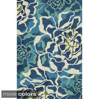 Hand-hooked Indoor/ Outdoor Capri Floral Multi Rug (3'6 x 5'6)