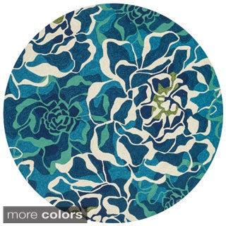 Hand-hooked Indoor/ Outdoor Capri Floral Multi Round Rug (7'10 x 7'10)