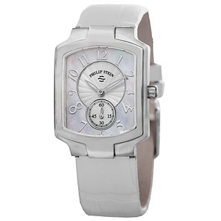 Philip Stein Women's 21-FMOP-AW 'Signature' Mother of Pearl Dial White Leather Strap Quartz Watch