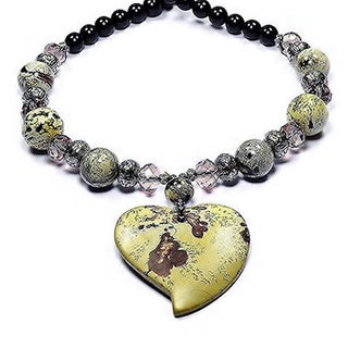Madame Earth Chohua Jasper Bleeding Heart' Pendant Necklace