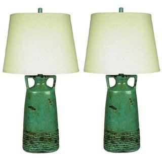 JT Lighting Rustic Teal Table Lamp (Set of 2)