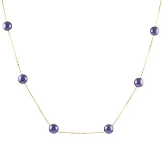 14k Yellow Gold Akoya Pearl Tin Cup Necklace (6.5-7 mm)