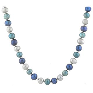 Sterling Silver Freshwater Blue and Grey Pearl Necklace (9mm)
