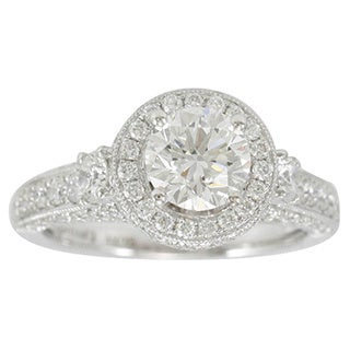 Suzy Levian 18k White Gold 2 1/5ct TDW Diamond Halo Engagement Ring (F-G, SI1-SI2)