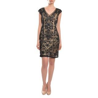 Sue Wong Women's Black Embroidered Beaded Cap Evening Dress