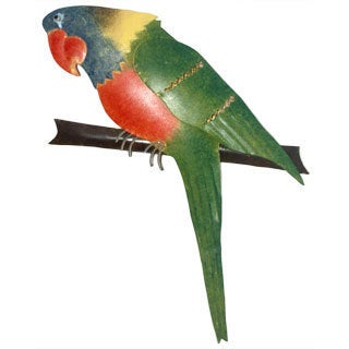 Iron Green Parrot Wall Décor (Indonesia)