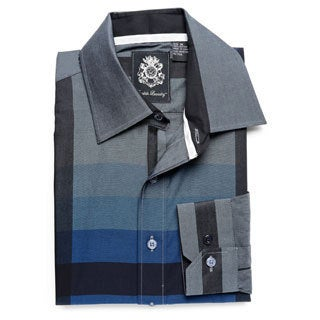 English Laundry Men's Charcoal Woven Button-down Shirt