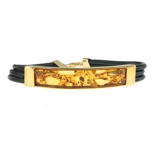 Michael Valitutti Men S Palladium Silver And Amber Bracelet