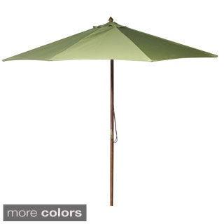 Jordan Manufacturing 9-foot Spun Polyester Wooden Market Umbrella