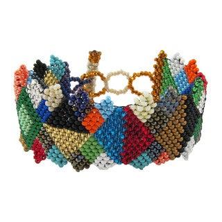 Multicolored Diamond Pattern Beaded Bracelet