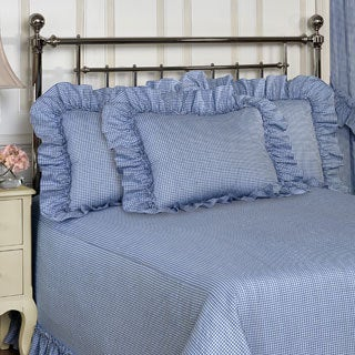 Plisse Blue Gingham Check Bedspread with Separate Sham