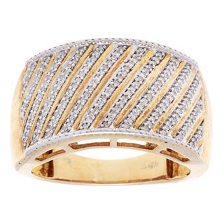 Vintage Gold-plated Silver Multi-row Diamond Wide-band Ring (Size 7.5)