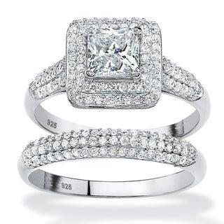 Palm Beach Platinum over Silver 1 1/2ct TGW White Cubic Zirconia Bridal Set
