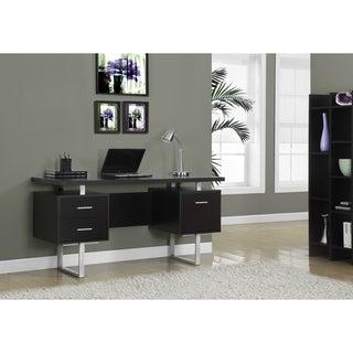 Cappuccino Hollow-core Silver Metal 60-inch Office Desk