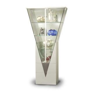 Somette Modern Light Silver Mirrored Interior Triangular Curio Cabinet
