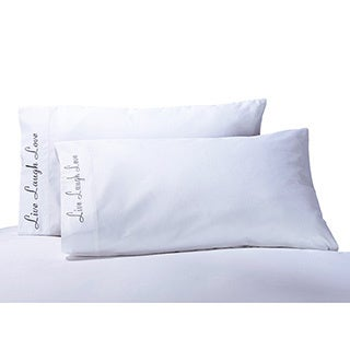 Luxor Treasures Cotton 'Live, Love, Laugh' Embroidered 500 Thread Count Pillowcase (Set of 2)