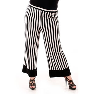 Women's Plus Size Black and White Striped Loose Dress Pants