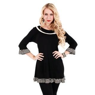Women's Black Ruffled 3/4-sleeve Tunic