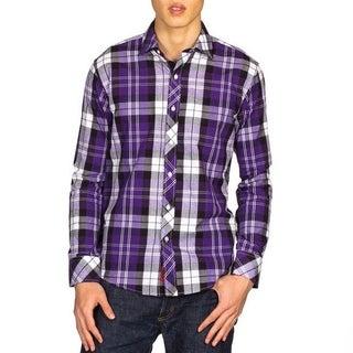 Elie Balleh Boys Slim Fit Plaid Button-down Shirt