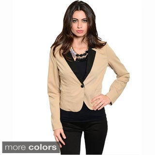 Feellib Women's Long Sleeve Two-Tone Blazer Jacket With Notched Collar And Single Front Button Closure