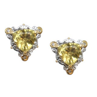 Michael Valitutti Golden Beryl Stud Earrings With Diamond Accents