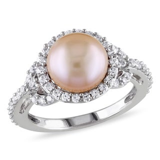 Miadora Sterling Silver Cultured Pearl and Cubic Zirconia Ring (8.5-9 mm)