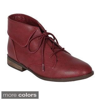 Breckelle's Women's 'Fontana-11' Lace-up Foldable Ankle Booties
