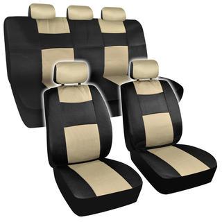 BDK Universal Fit 11-piece Premium Fresh Mesh Car Seat Covers - Black/ Beige
