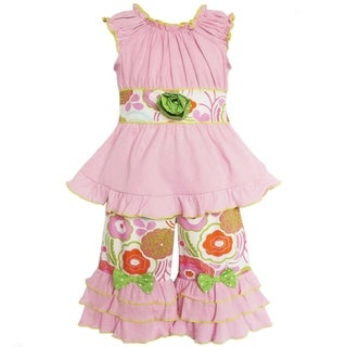 AnnLoren Boutique Girls Pink Knit Tunic and Floral Capri Pants
