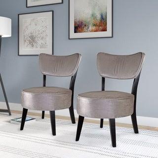 CorLiving Antonio Accent Chair in Grey Velvet (Set of 2)