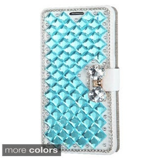 INSTEN Folio Flip Leather Stand Wallet Phone Case Cover With Diamond For Samsung Galaxy Note 4
