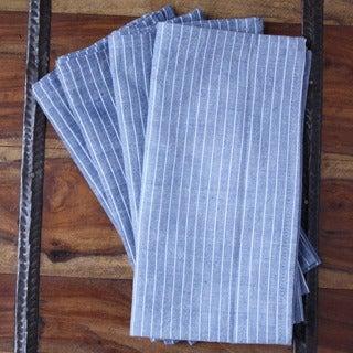 Set of 4 Hand-woven Valiant Blue Cotton Napkins (India)