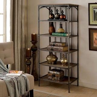 Furniture of America Brywood Natural Industrial Tiered Bookshelf