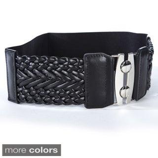 Women's Wide Braided Stretch Fashion Belt