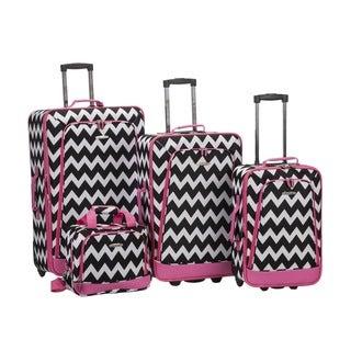Rockland Chevron 4-piece Expandable Rolling Upright Luggage Set