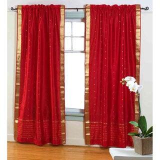 Red Sheer Sari Curtain Panel (India)