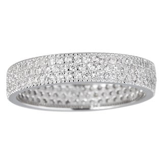 Sterling Silver Cubic Zirconia 3-strand Micropave Eternity Ring