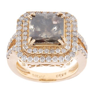 14K Yellow Gold 6 1/5ct TDW Fancy Brown Radiant Center Diamond Halo Engagement Ring