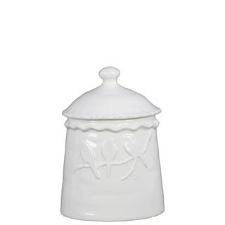 Gloss White Ceramic Canister with 3 Birds Relief